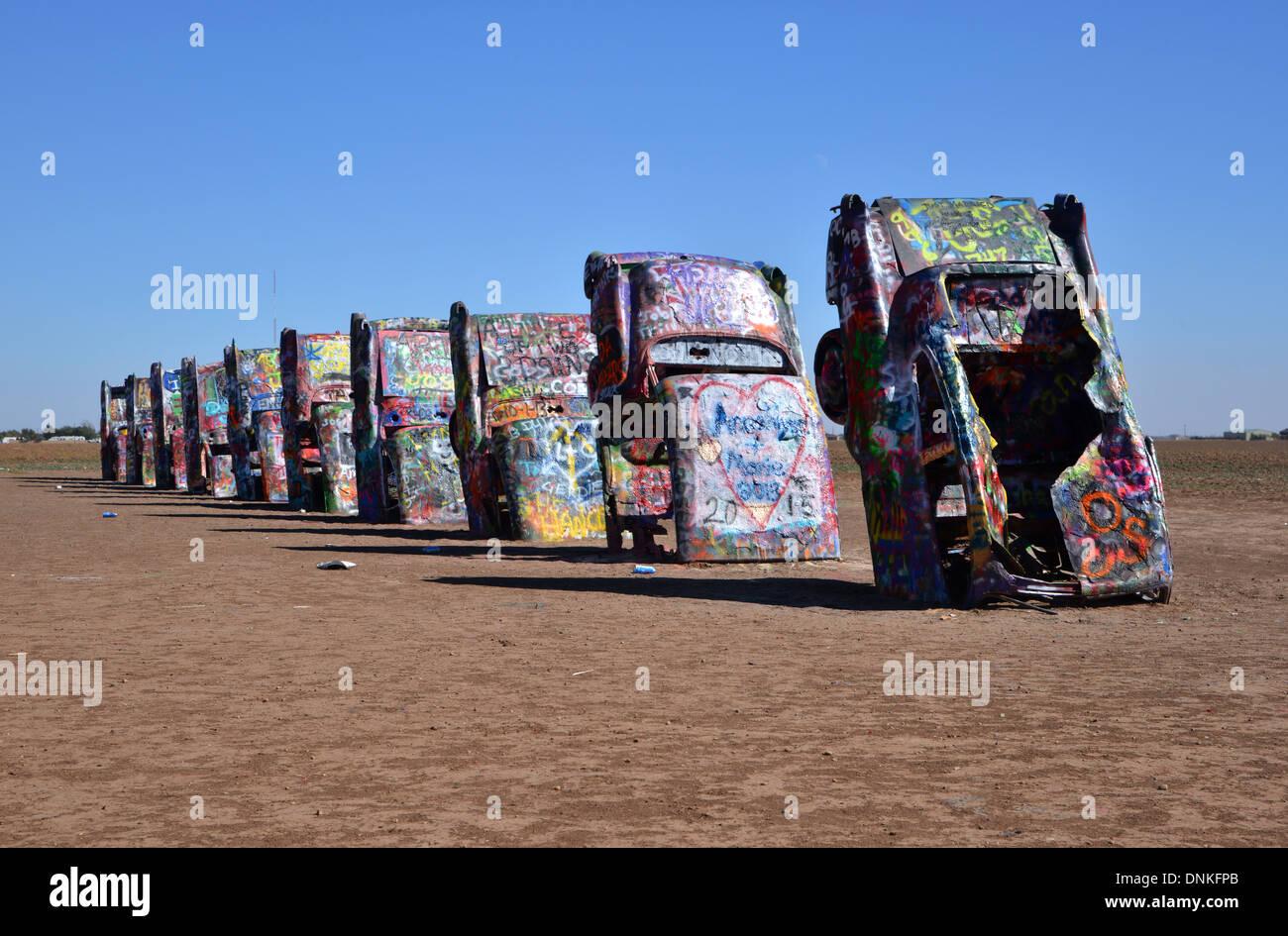 Cadillac Ranch A Route 66 Landmark Near Amarillo Texas Stock Photo