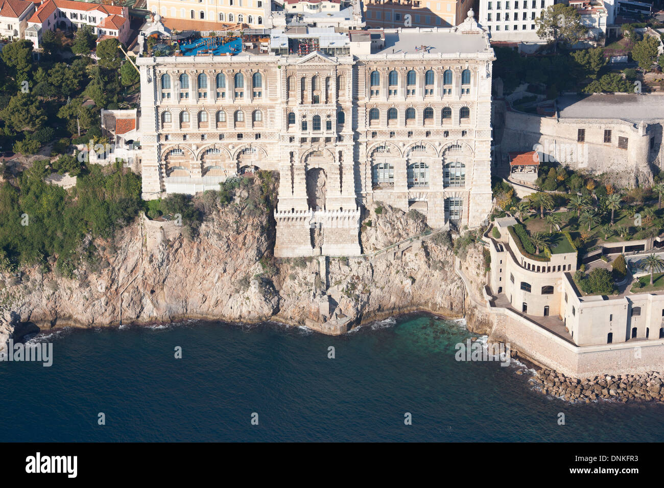 OCEANOGRAPHIC MUSEUM (aerial view). Historic museum on top of a cliff in Monaco-Ville district. Principality of Monaco. - Stock Image