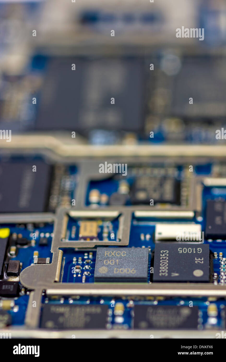 Computer chips on a memory board - Stock Image