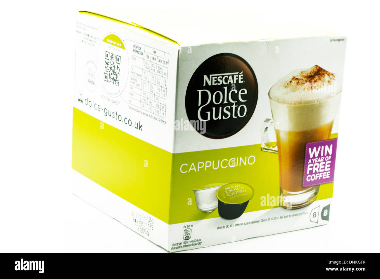 box of nescafe Dolce gusto coffee pods cappuccino cut out white background copy space - Stock Image