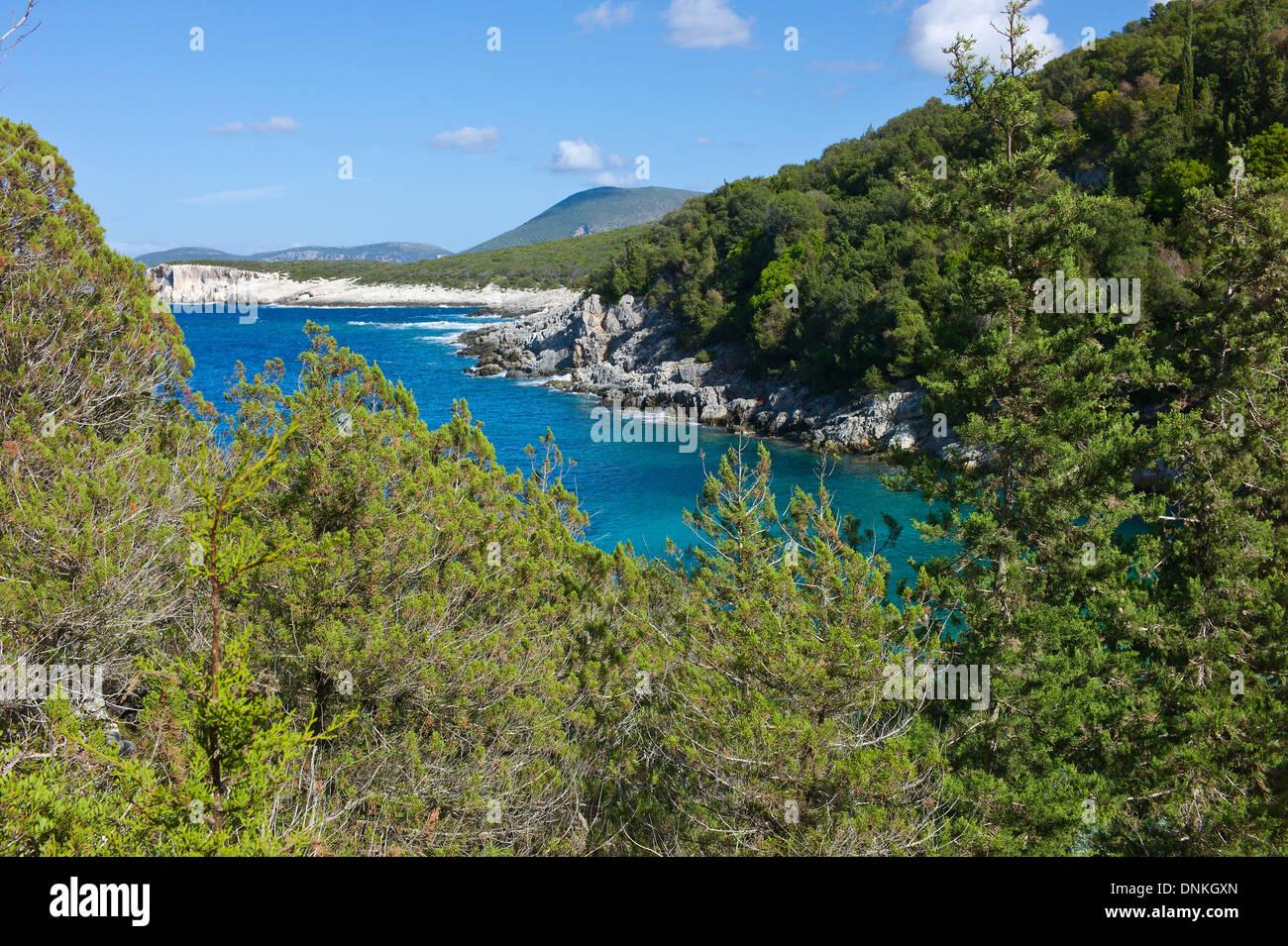 Overlooking the coastline above Dafnoudi Beach near Fiscardo, Cefalonia, Greece - Stock Image
