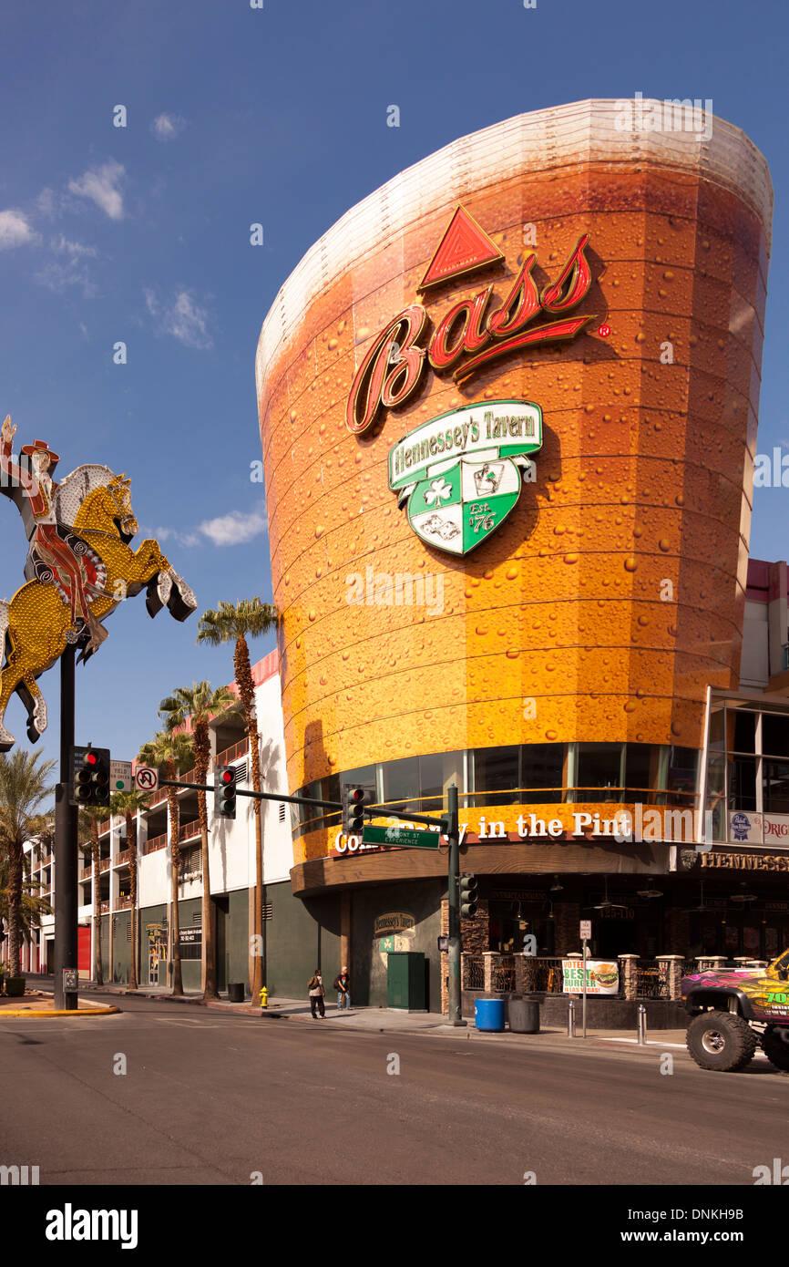 Hennessey Tavern on Fremont Street,Downtown Las Vegas,Nevada Stock Photo