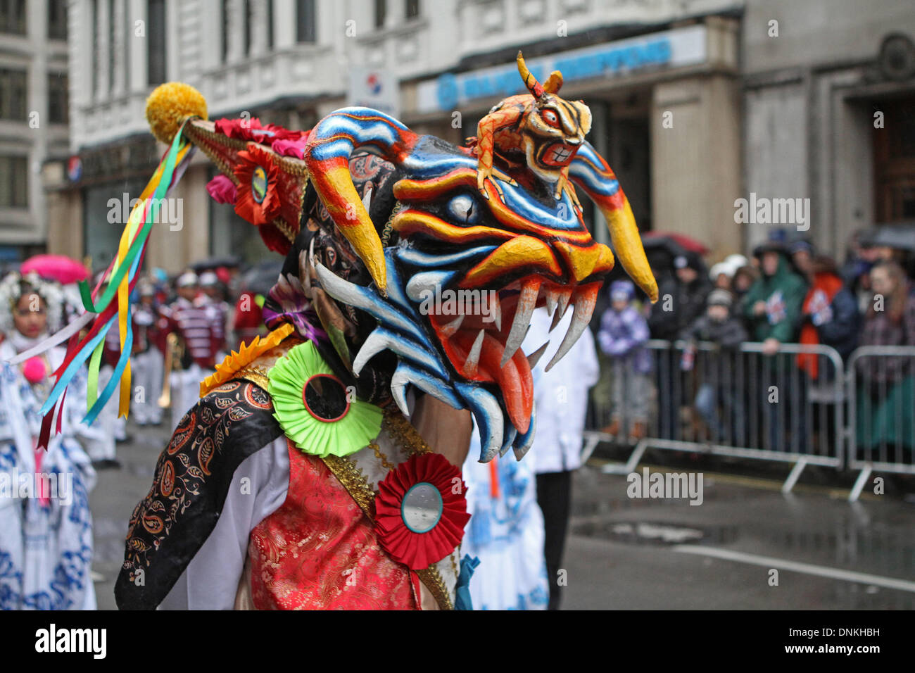 London,UK,1st January 2014,A colourful mask at the London's New Year's Day Parade 2014 Credit: Keith Larby/Alamy Live News - Stock Image