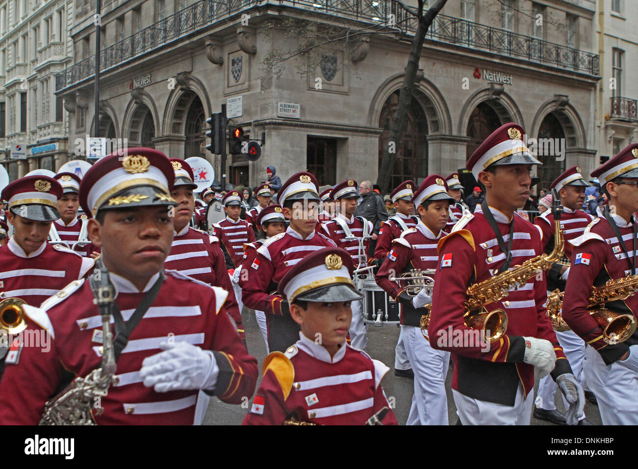 London,UK,1st January 2014,Banda De Musica Colegio Moises Castilo Ocana from Panama playing at the London's New Year's Day Parade 201 Credit: Keith Larby/Alamy Live News - Stock Image