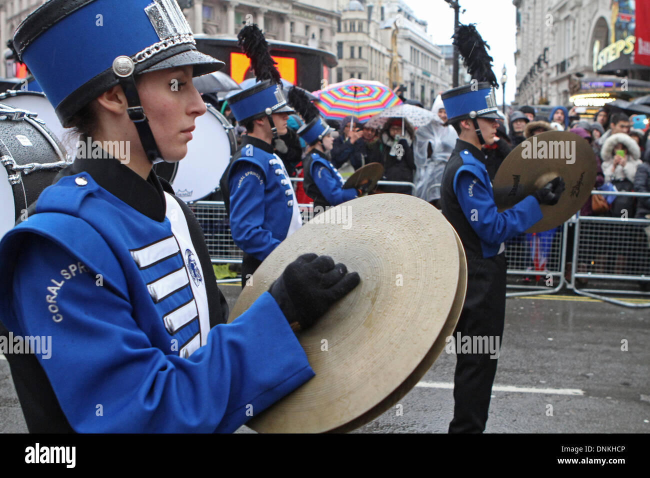 London,UK,1st January 2014,J.P Taravella high school from Florida playing at the London's New Year's Day Parade Stock Photo