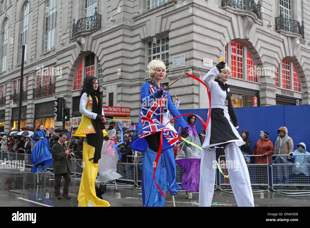 London,UK,1st January 2014,Walking tall at the London's New Year's Day Parade 2014 Credit: Keith Larby/Alamy Live News - Stock Image