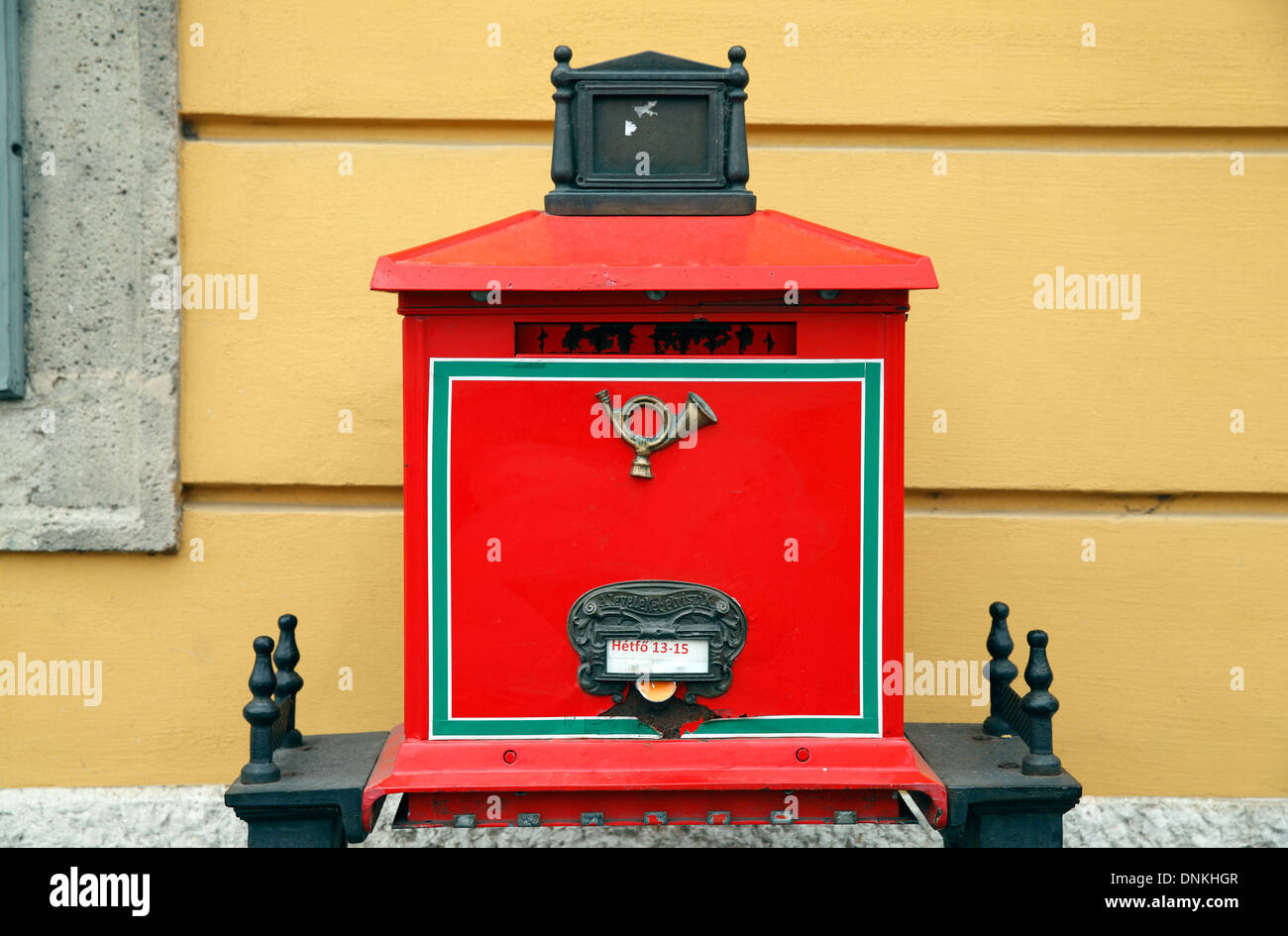 A Red Letter Box of the Magyar Posta Postal Service In Budapest Hungary Stock Photo