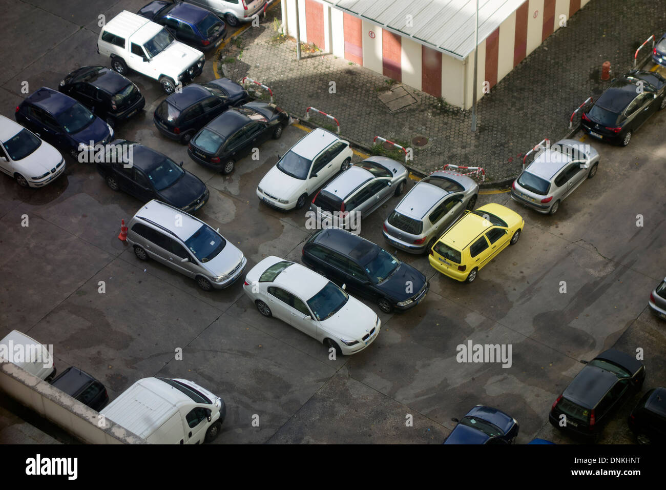 Aerial view of badly parked cars - Stock Image