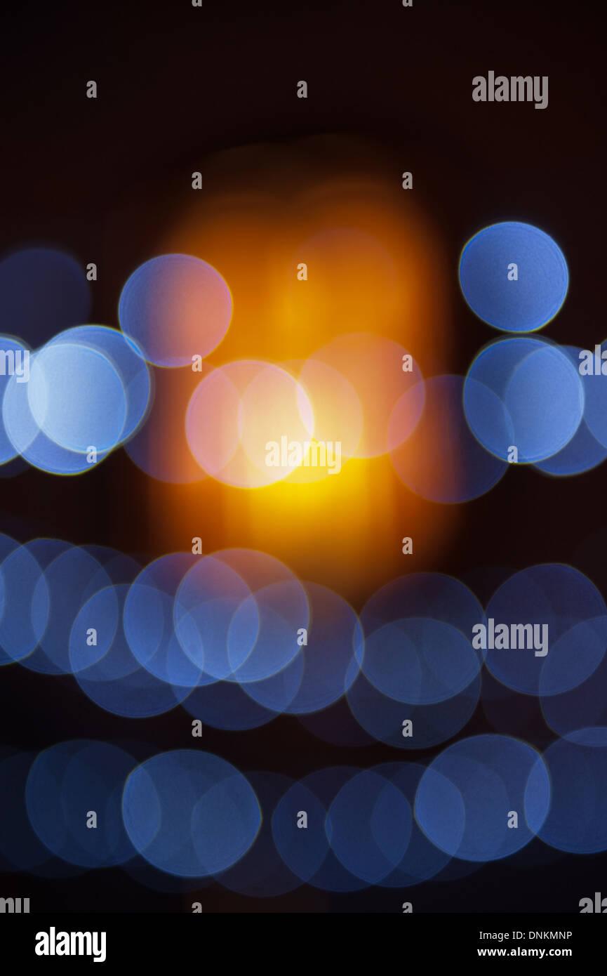abstract christmas lights bokeh as background - Stock Image