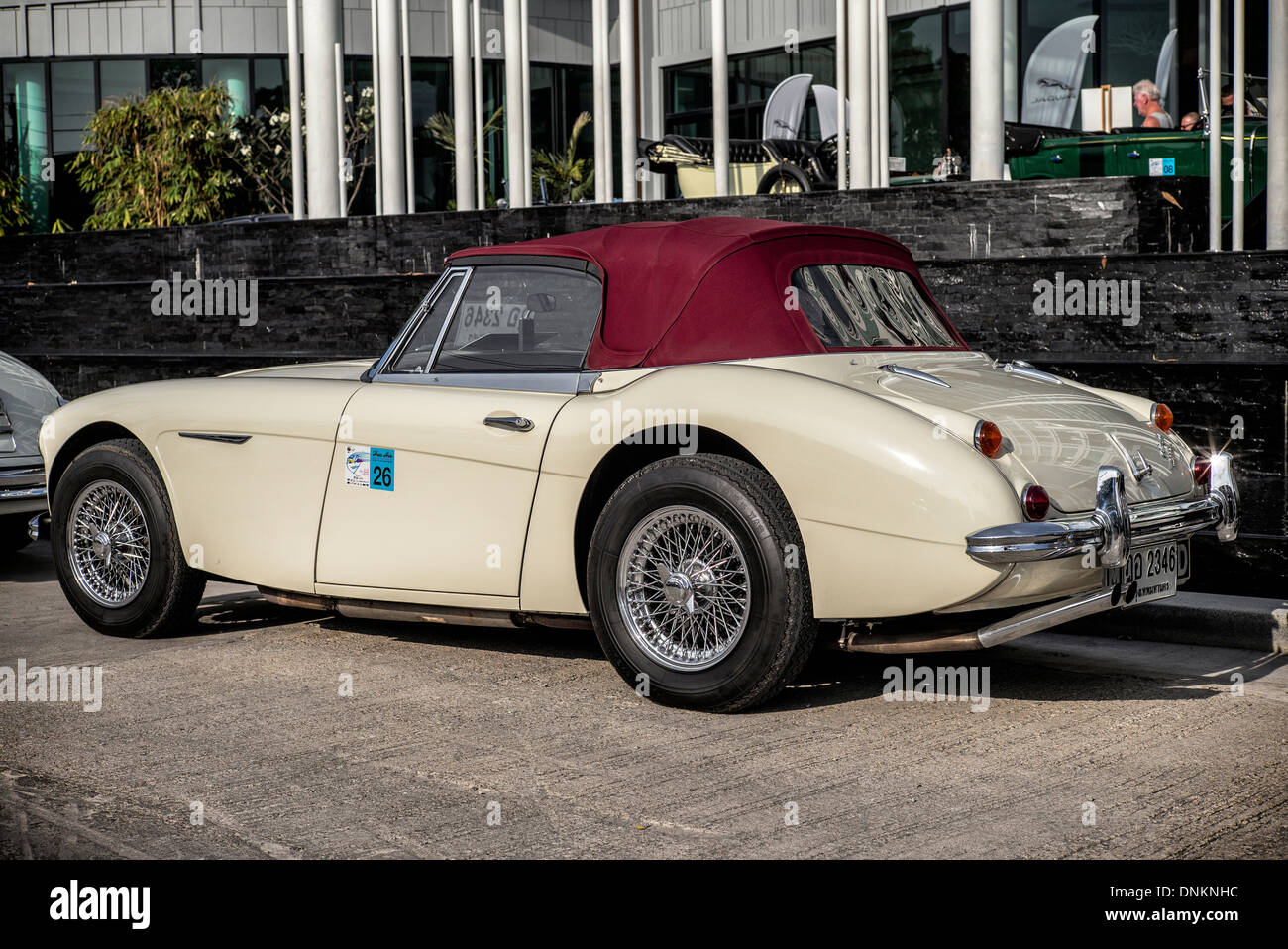 Superior Full Length Side View Of A Austin Healey 3000, 3 Litre Classic British  Convertible Sports Car In Cream With Red Hood.