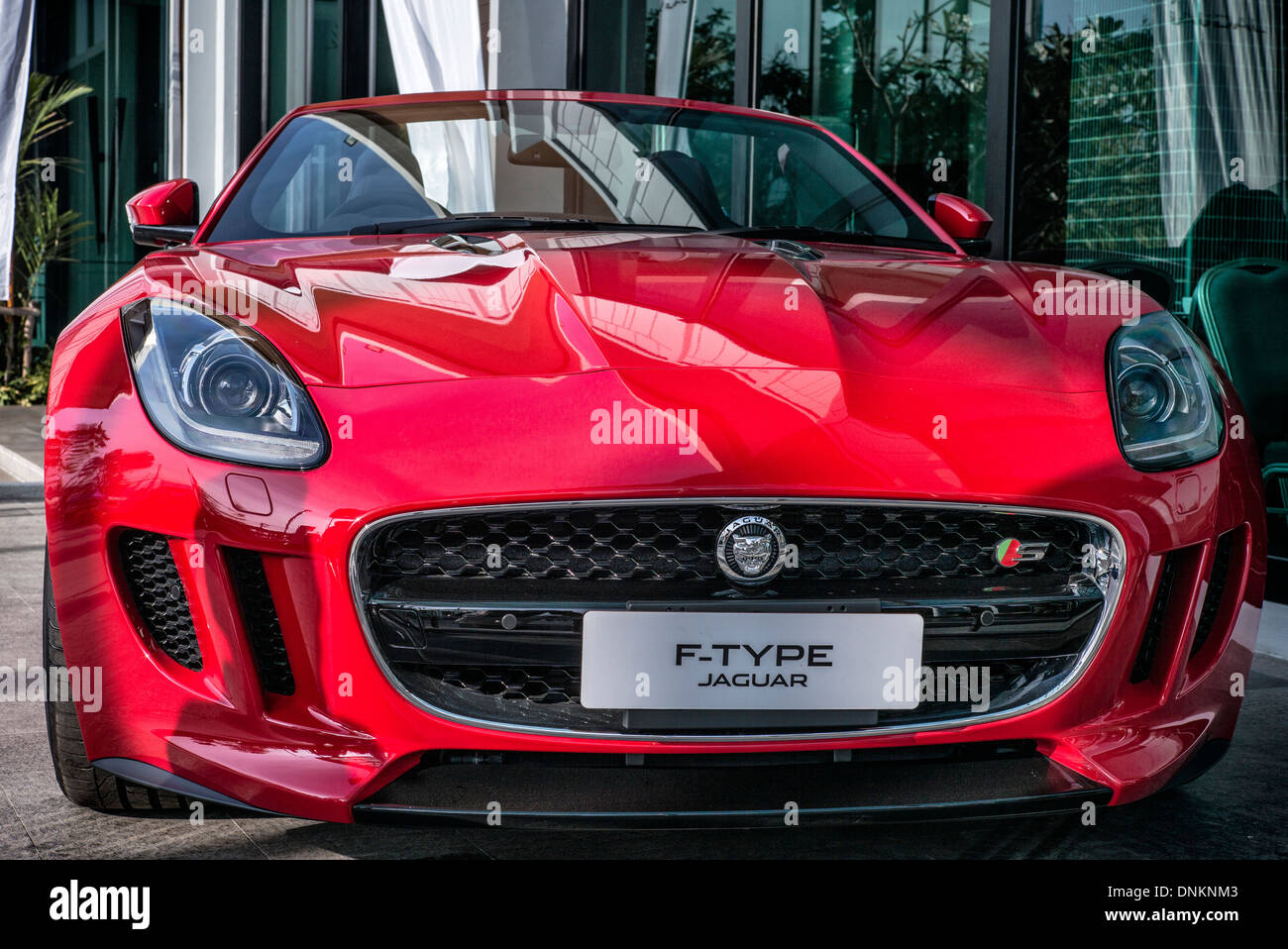 Front View Of A Red Jaguar F Type British Convertible Sports Car In