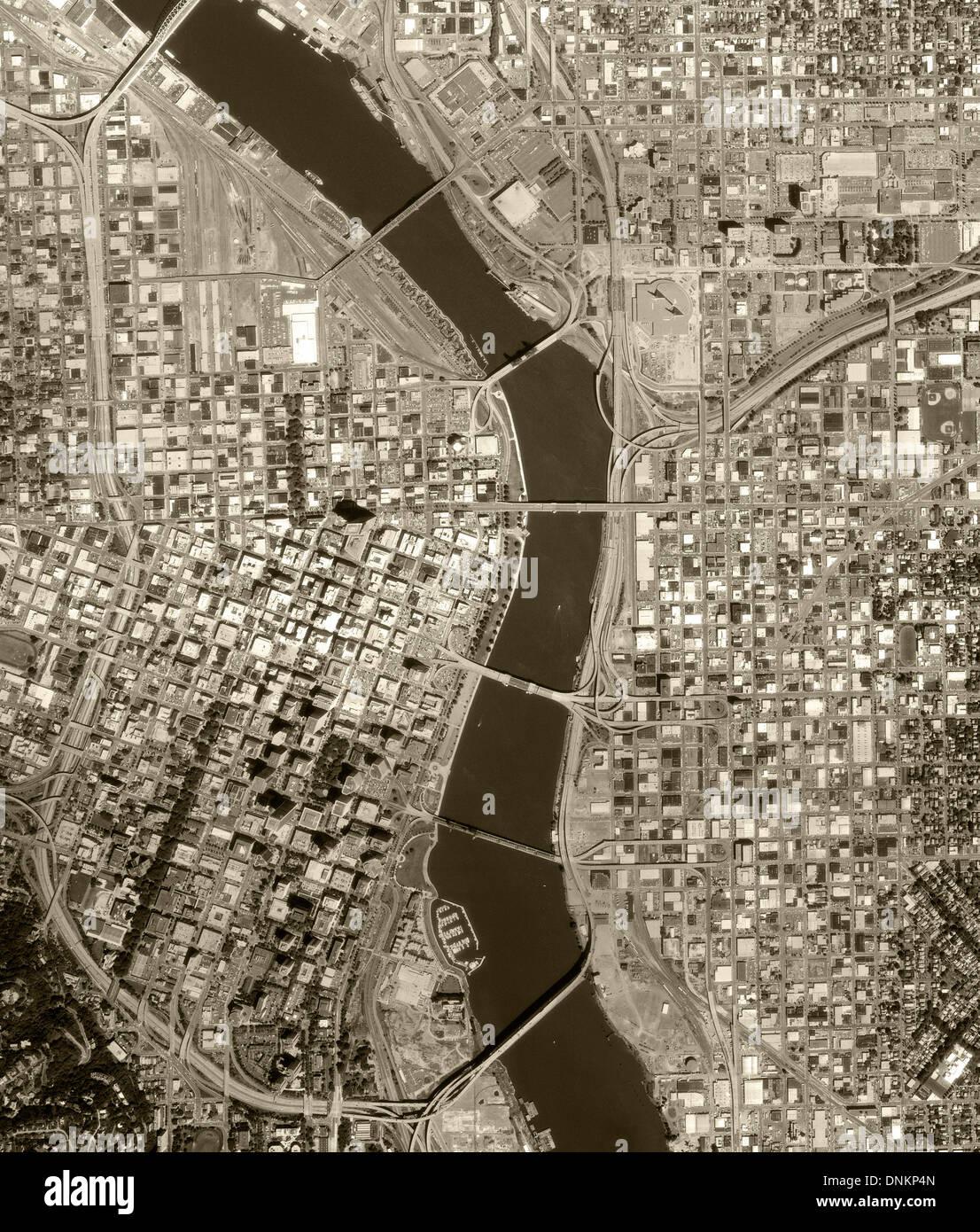 aerial photo map of Portland, Oregon, 1990 - Stock Image