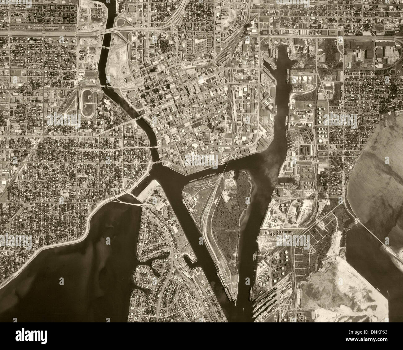 historical aerial photograph Tampa, Florida, 1969 - Stock Image