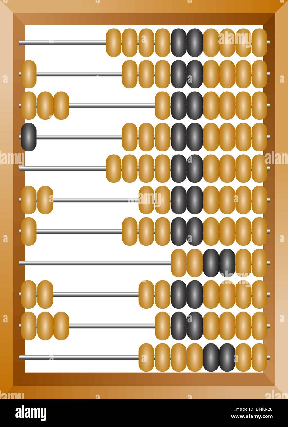 Accounting abacus for financial calculations lies on a white background - Stock Image