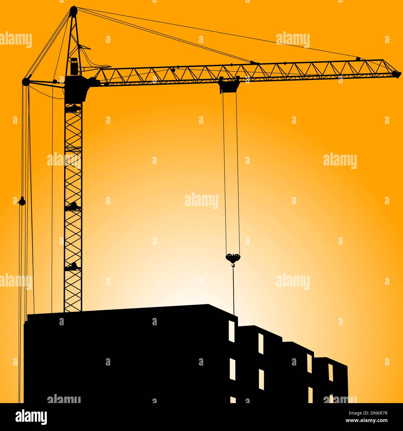 Silhouette of crane on a sunset on a building Stock Vector