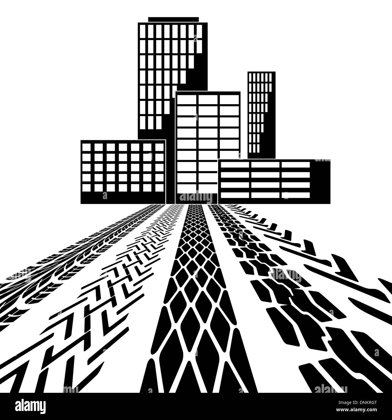 Set of detailed tire prints leading to the building vector illustration