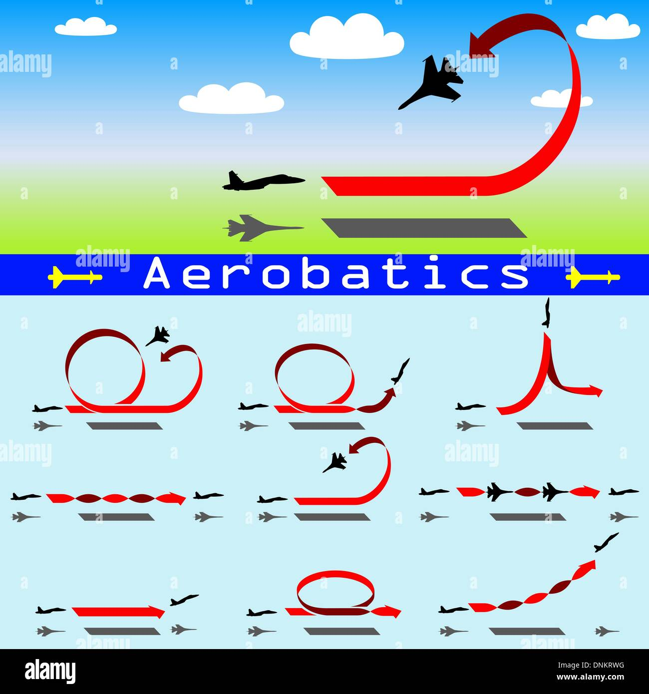 Aerobatics airplane on blue sky background - Stock Vector