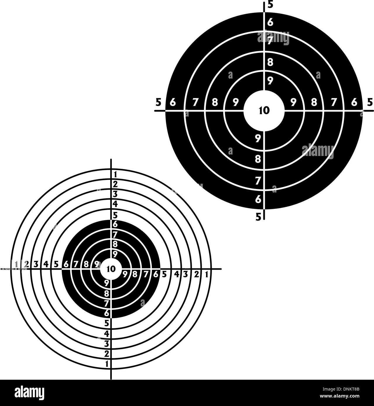 Set targets for practical pistol shooting, exercise. Vector illustration - Stock Image