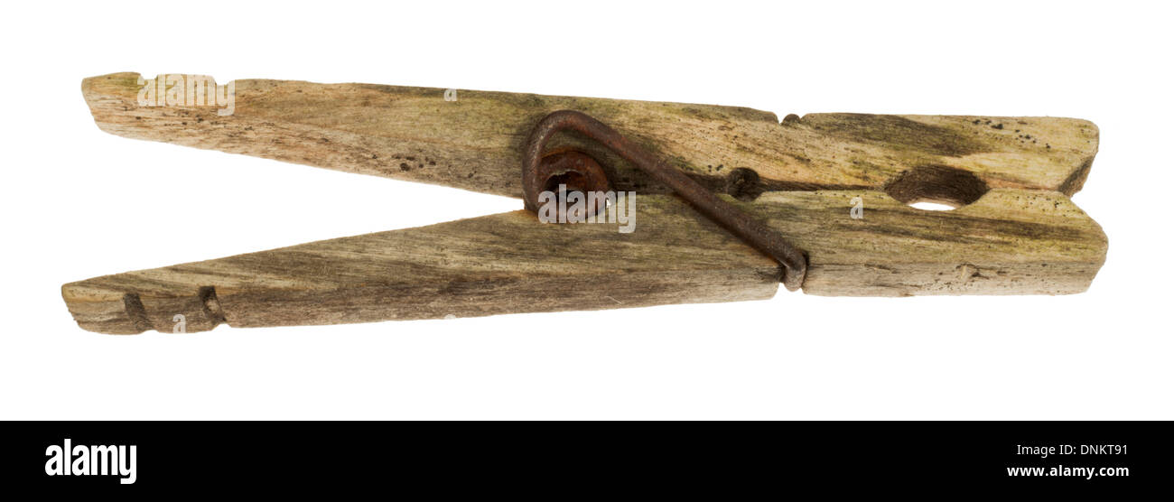 old wooden clothes peg - Stock Image