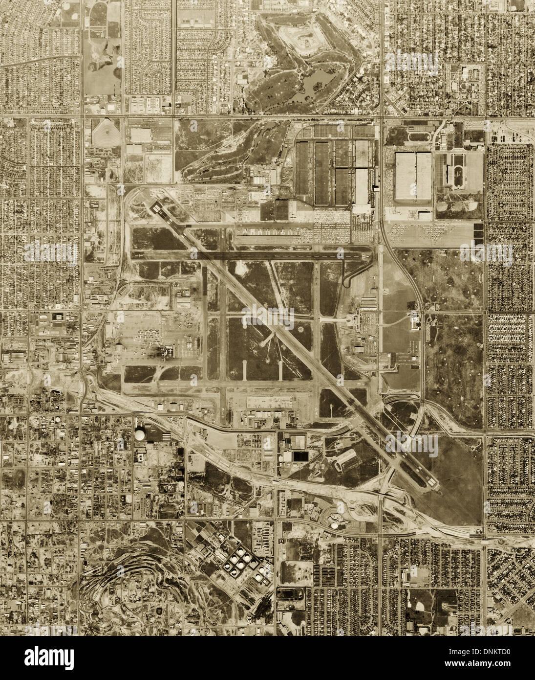 historical aerial photograph Long Beach airport, California, 1963 - Stock Image
