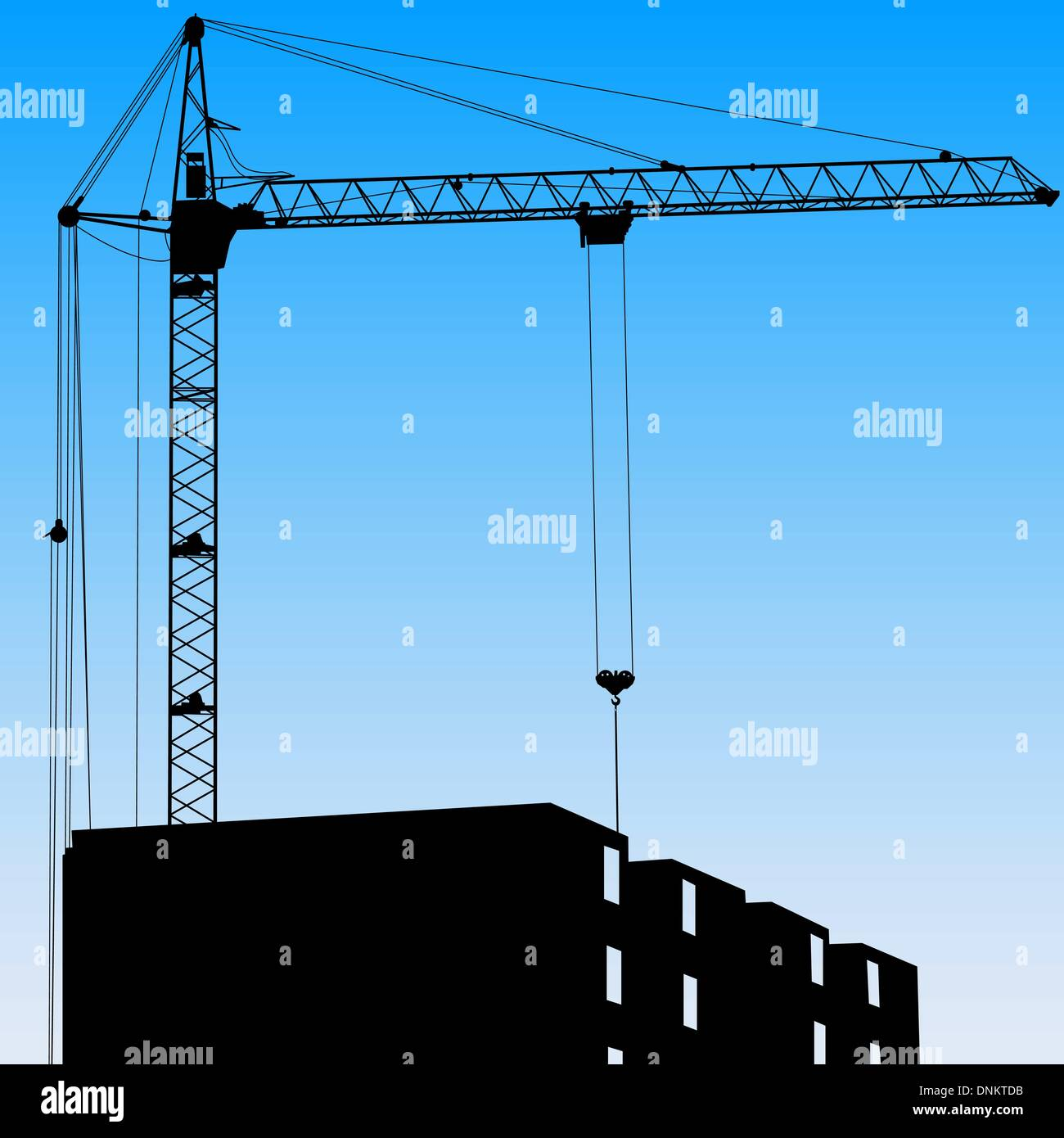 Silhouette of one cranes working on the building on a blue background Stock Vector