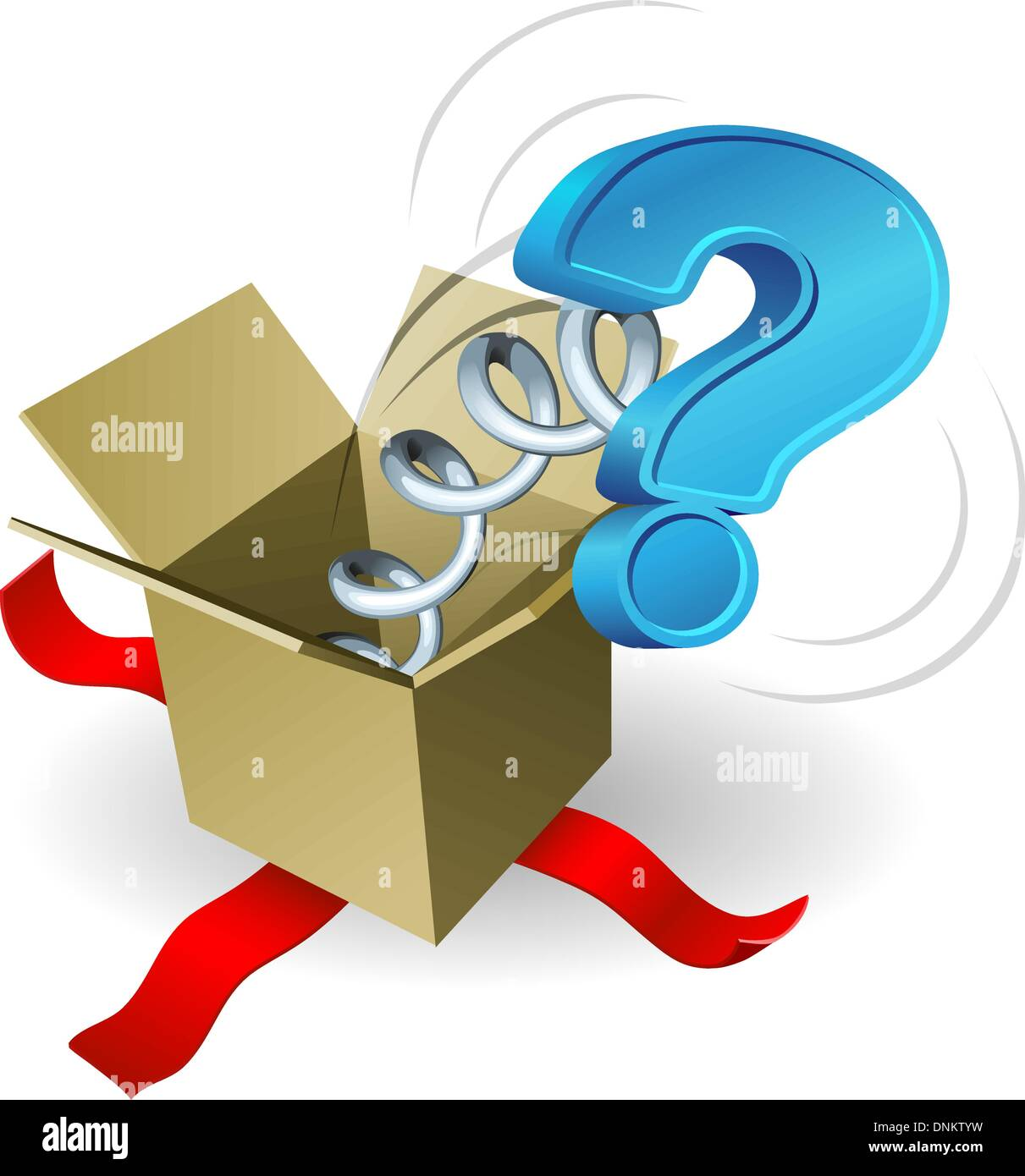 A question mark springing out of a box conceptual illustration. - Stock Vector
