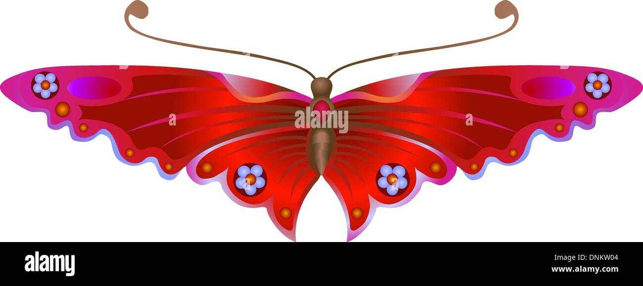 An illustration of a beautiful Stylised Butterfly. No meshes used. Stock Vector