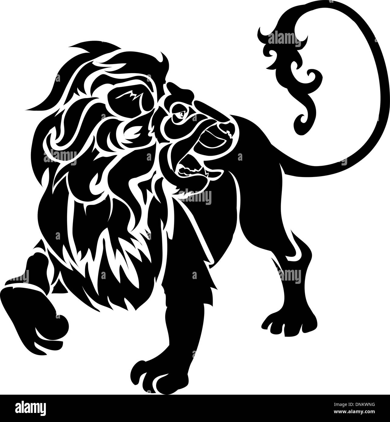 Monochrome vector illustration of a stylised lion - Stock Vector