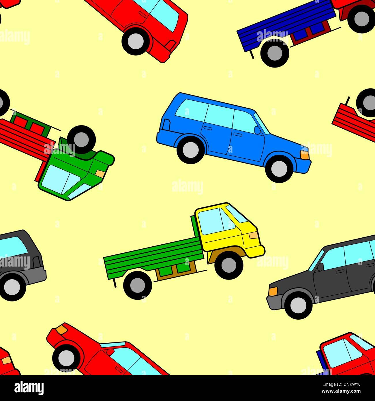 Car seamless wallpaper, vector illustration - Stock Image