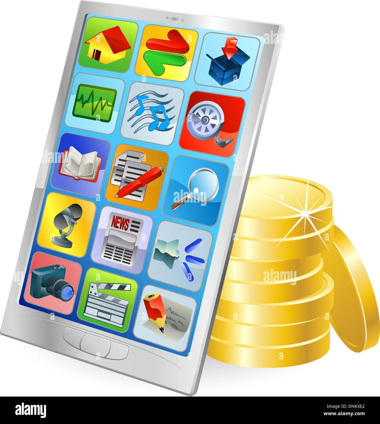 Mobile phone or tablet PC gold coin money concept - Stock Vector