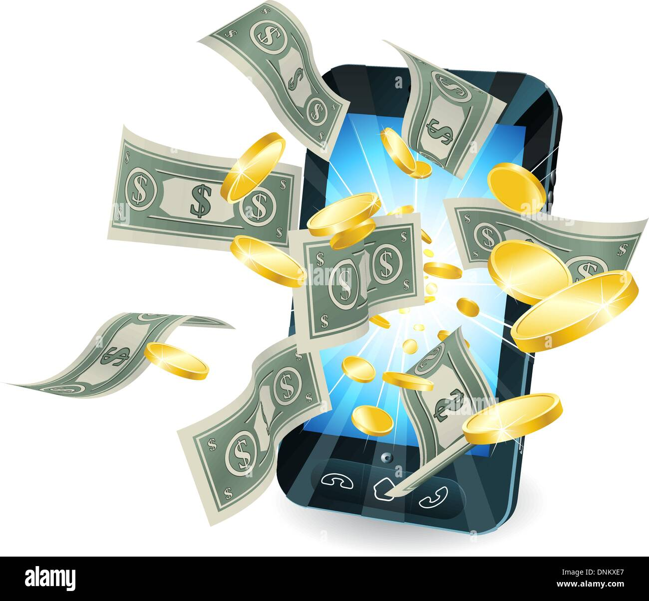 Money flying out of new style smart mobile phone. - Stock Vector