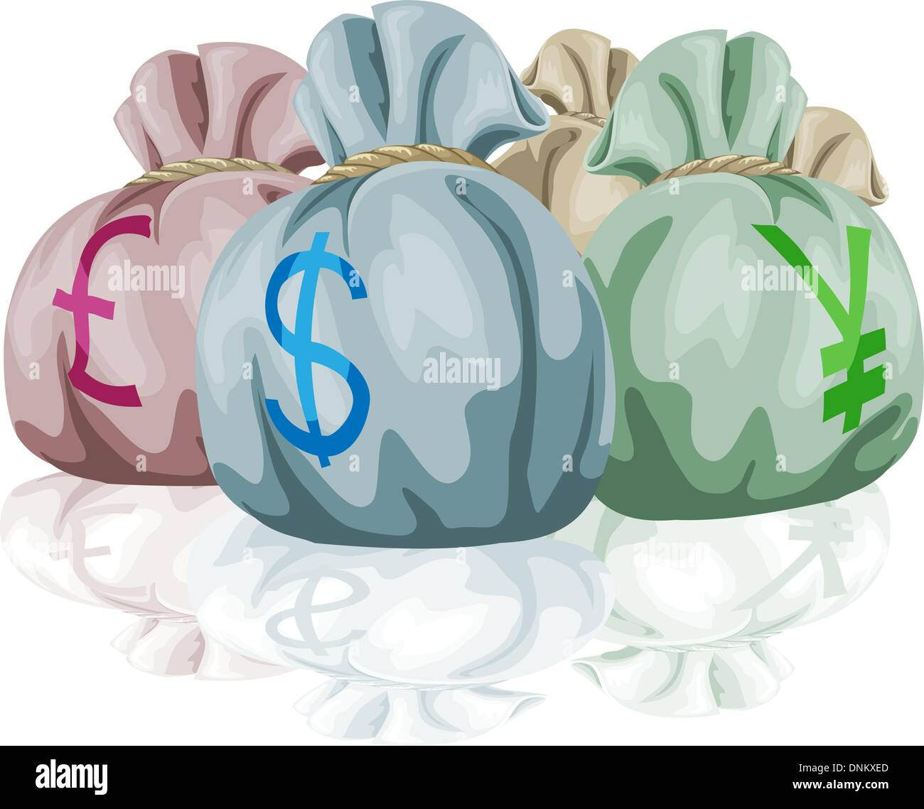 Money bag sacks containing different world currencies. Pound, dollar and yen symbols showing. - Stock Vector