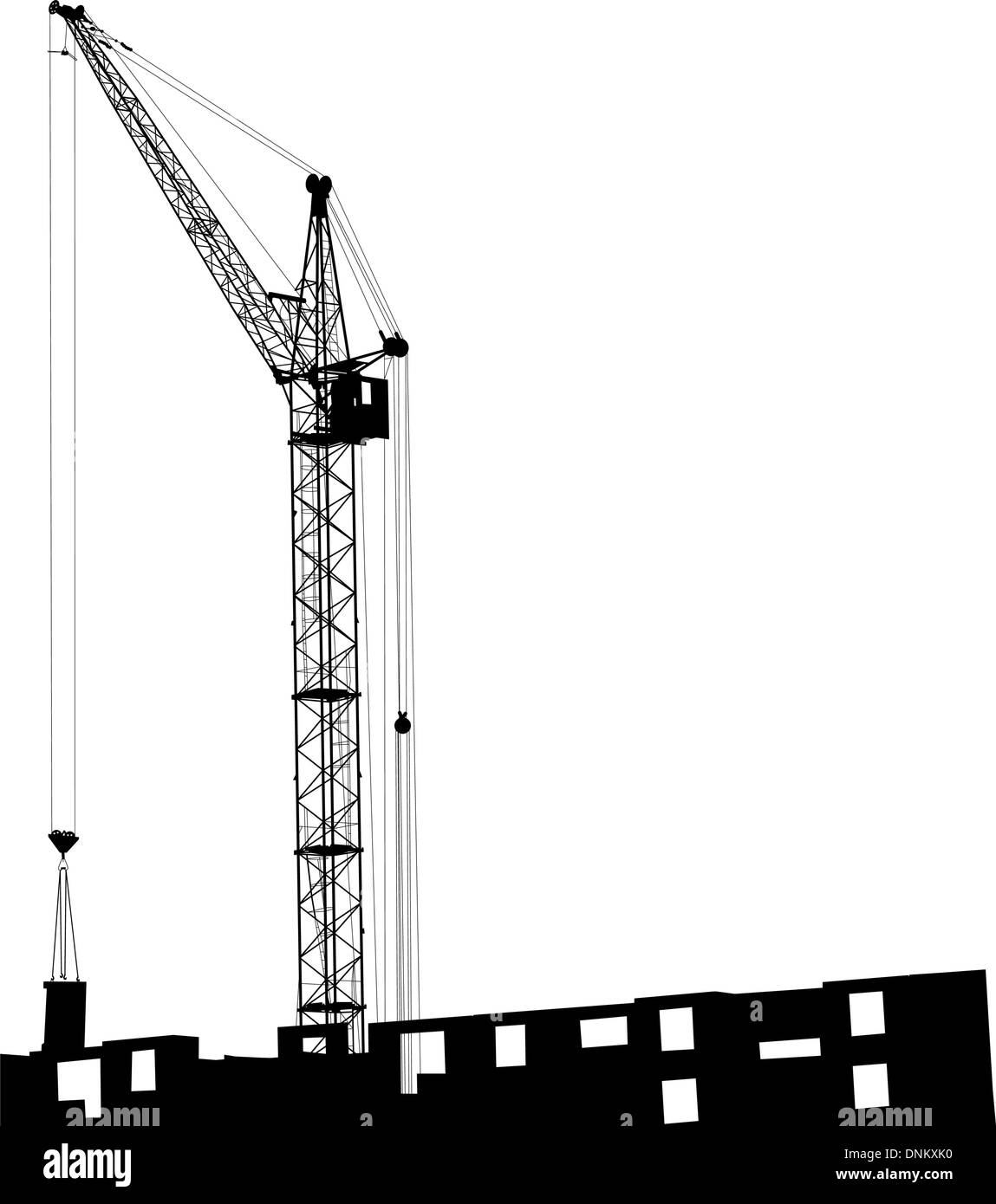 Silhouette of one cranes working on the building on a white background Stock Vector