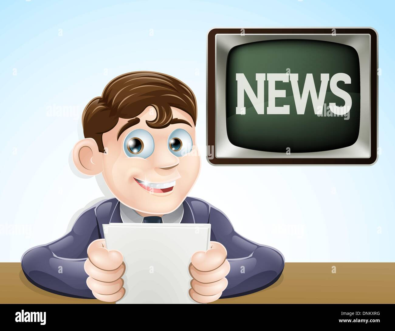 An Illustration Of A Studio Television News Reporter Holding Paper At Desk