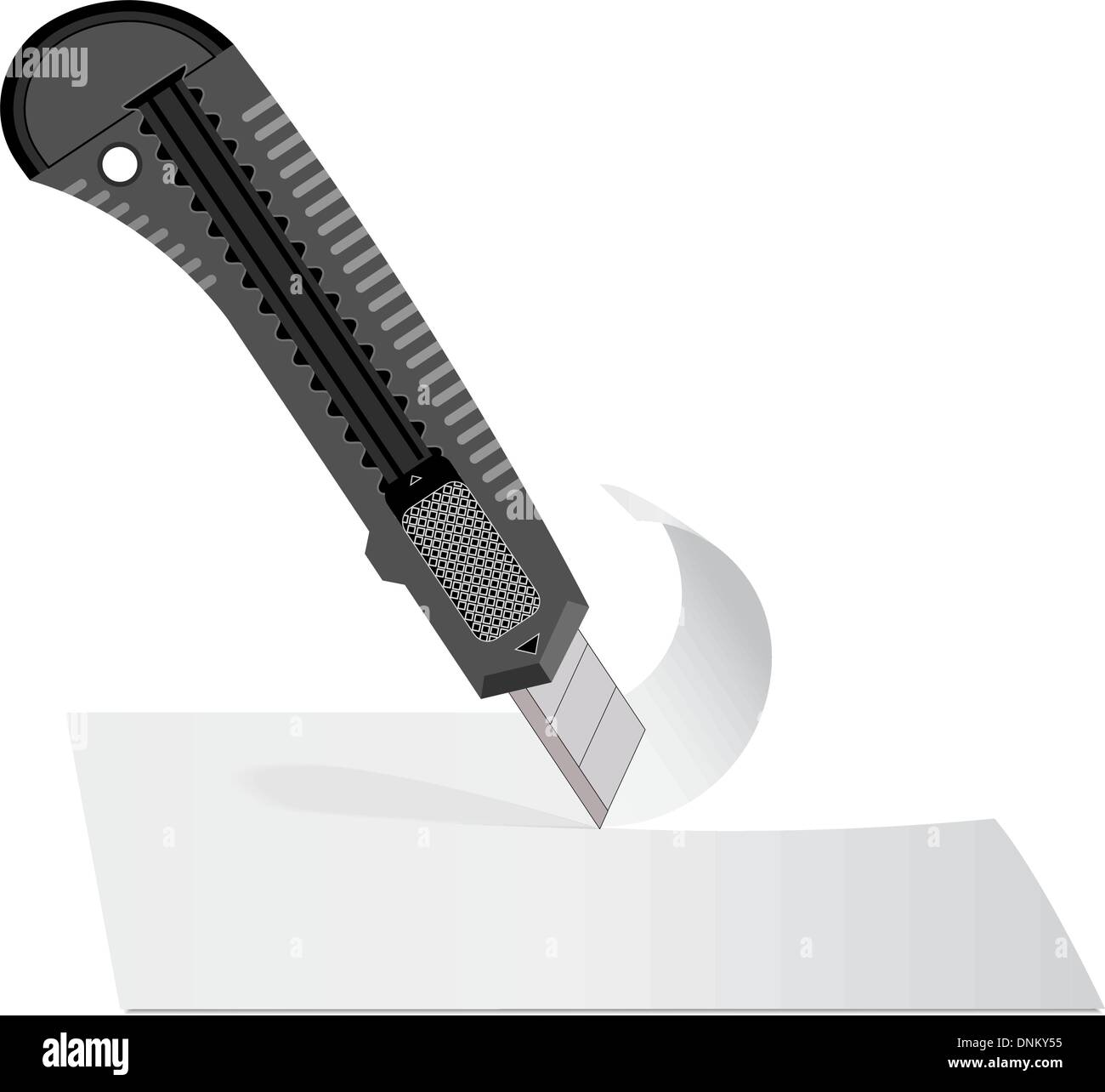 Plastic knife to cut the paper sheet of white paper. Stock Vector