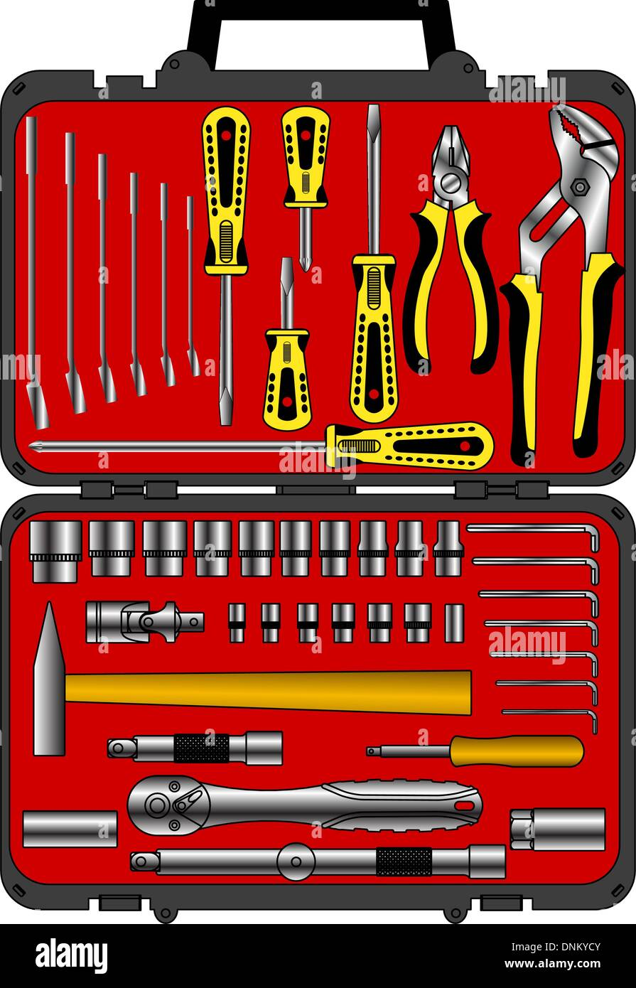 vector set of different tools  in a box - Stock Image