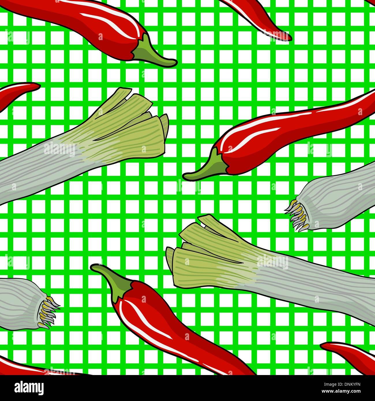 Seamless vegetable pattern leek and red pepper vector illustration - Stock Image