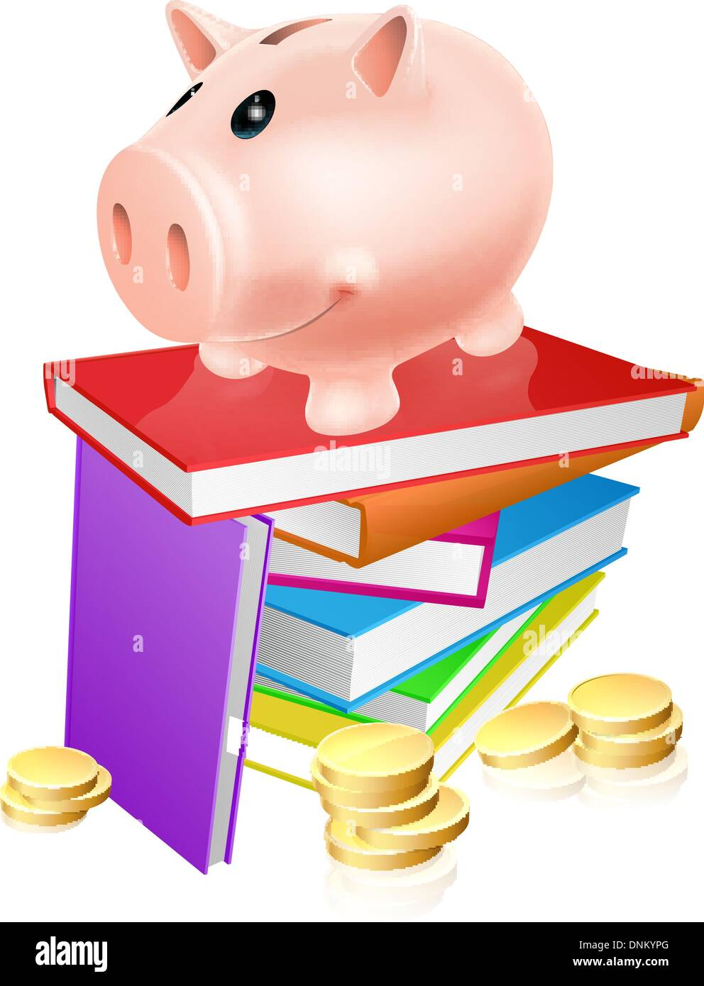 A piggy bank standing on a stack of books and surrounded by coins. Concept for eduction savings or other literacy related budget - Stock Image