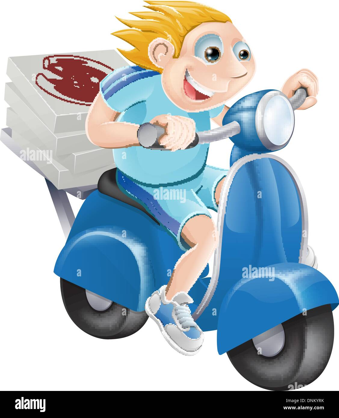 Riding A Motorcycle Stock Vector Images Alamy Cartoon Dirt Bike Engine Diagram Pizza Delivery Man Delivering On His Moped Motor