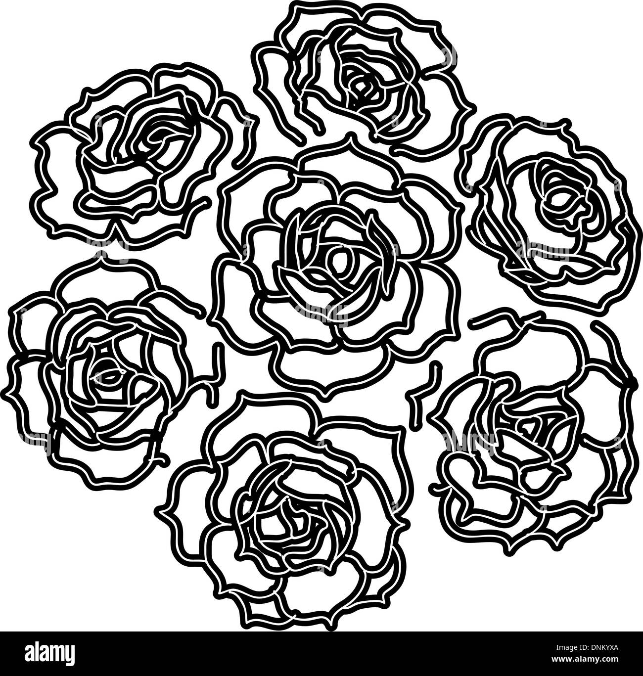 Large bouquet of roses. vector - Stock Image