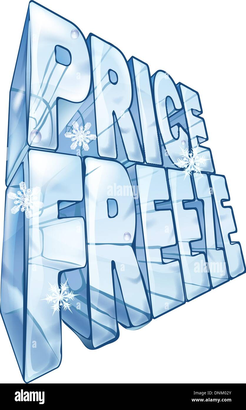 Illustration Of The Words Price Freeze Like A Big Frozen Ice Cube To Market Sale With Snowflakes Falling In Foreground