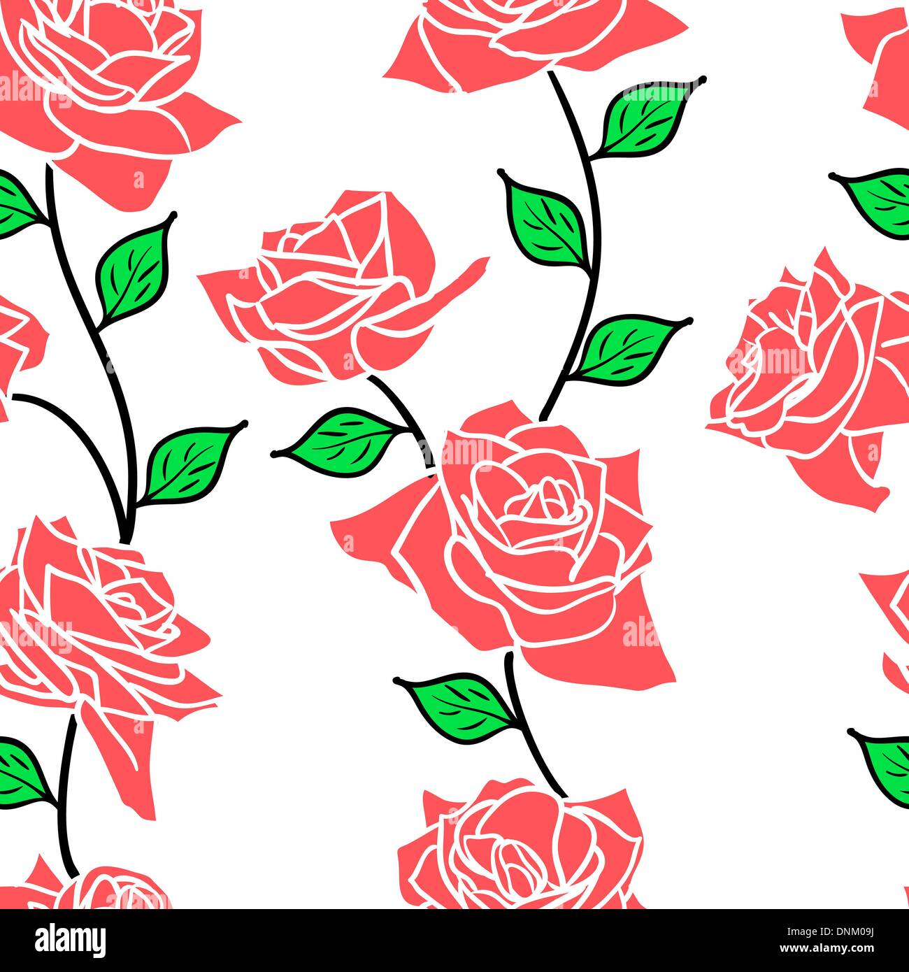 Beautiful  seamless wallpaper with rose flowers, vector illustration - Stock Image