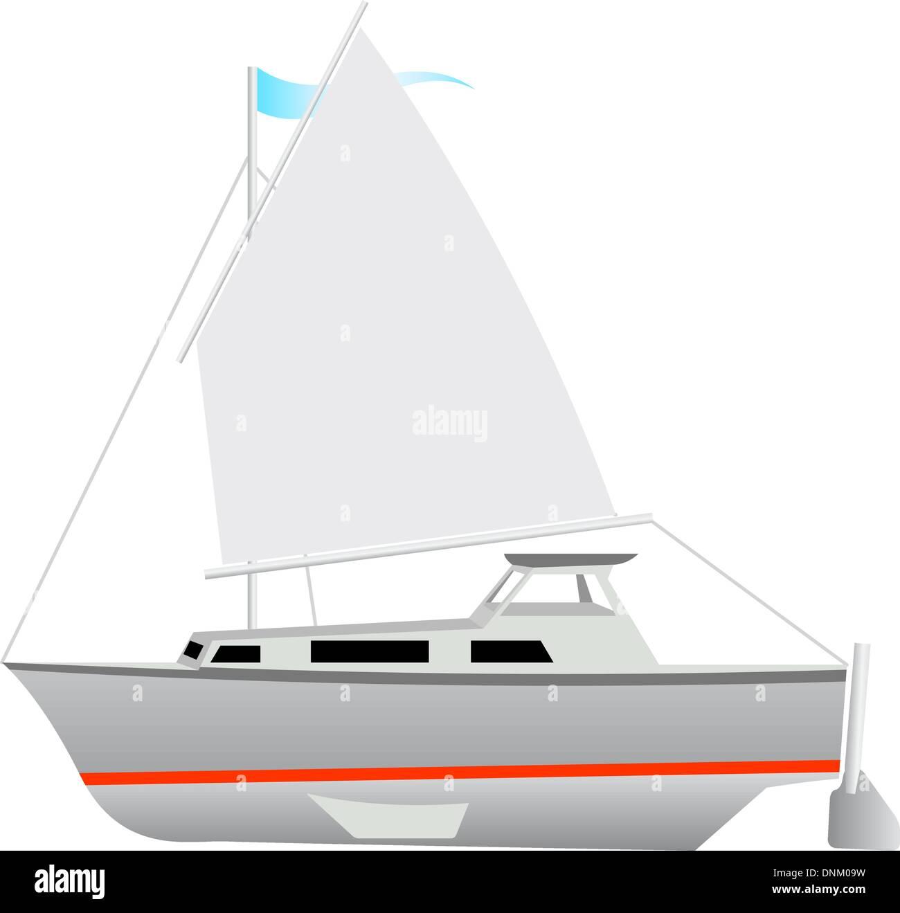 Sailing boat floating. Vector illustration. - Stock Image