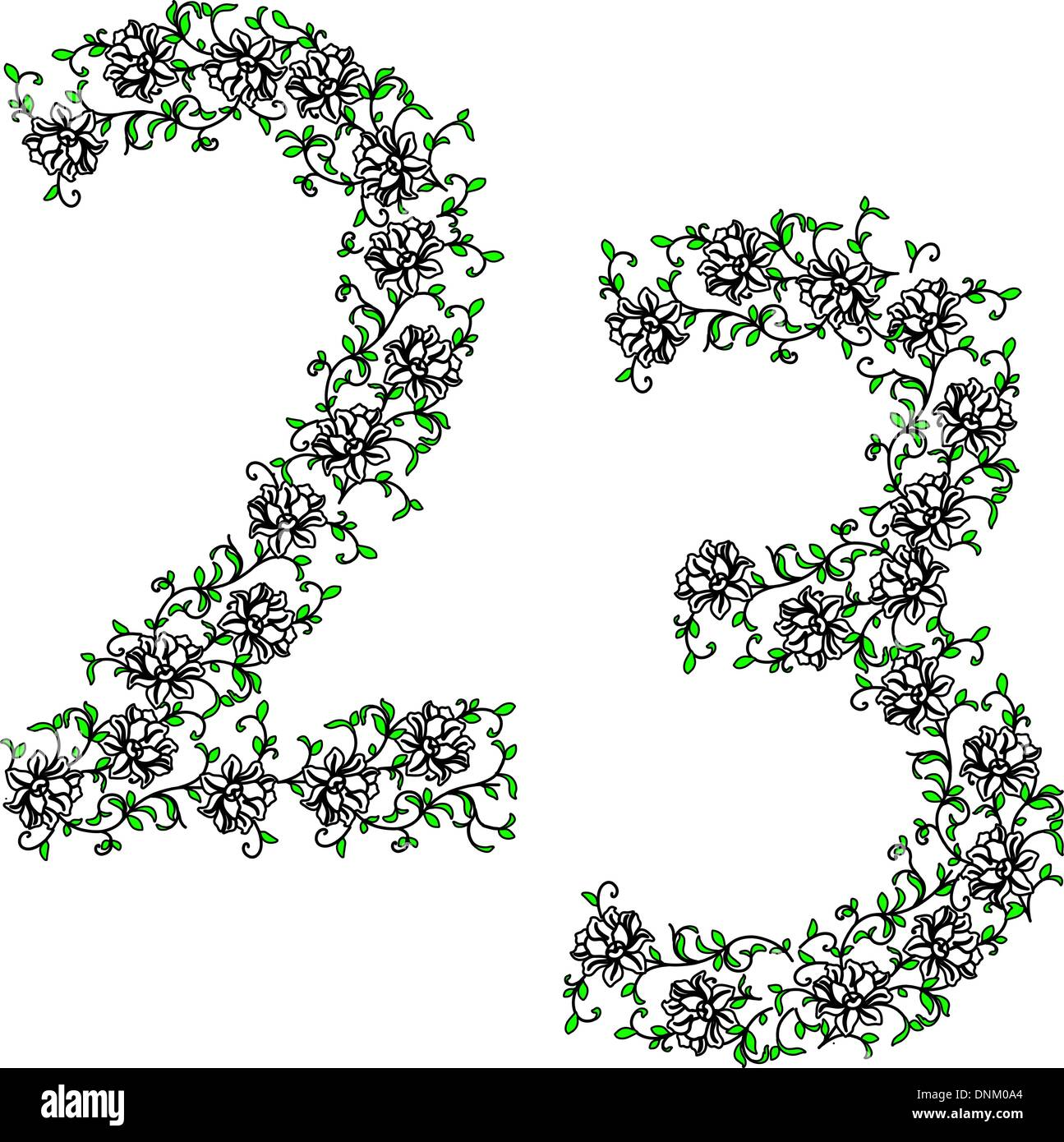 Hand drawing ornamental alphabet. Letter 23 - Stock Image