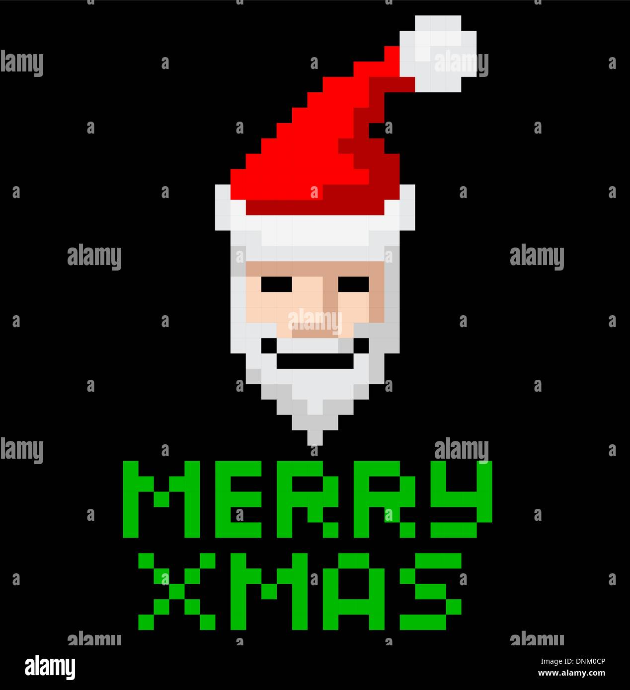 Retro Arcade Video Game Style Pixel Art Christmas Santa With Merry
