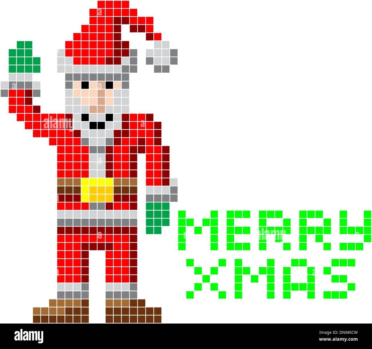 15073496279c Retro arcade video game style pixel art Christmas Santa with Merry Xmas  message