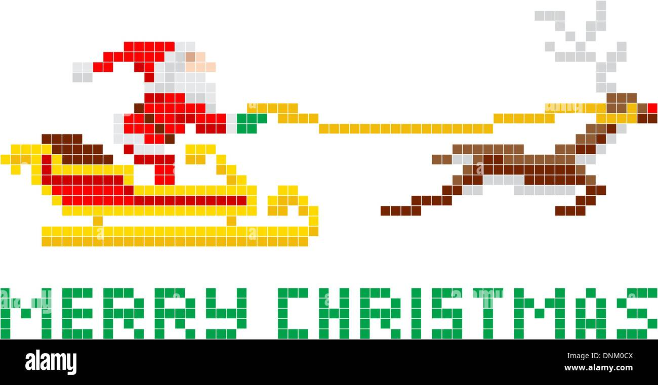c2ce2f243b07 Retro 8-bit arcade video game style pixel art Christmas Santa Claus in  sleigh with Merry Xmas message