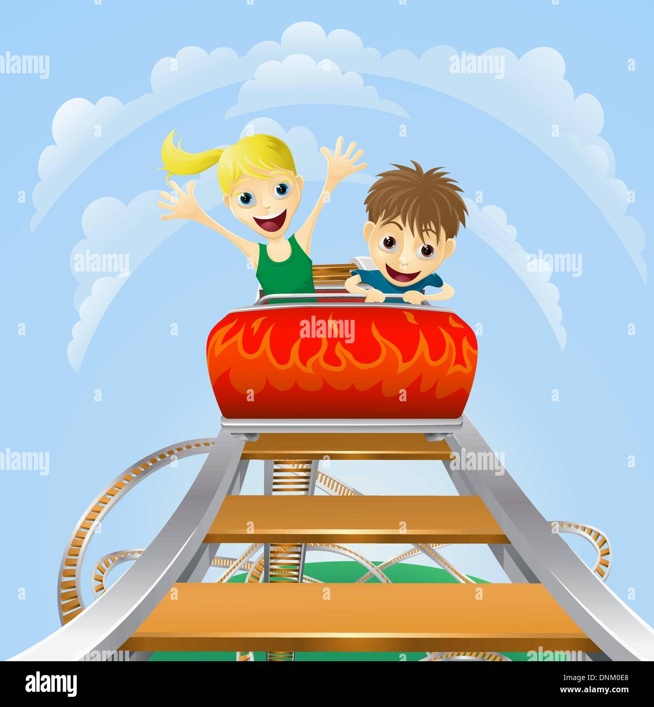 Illustration of a boy and girl enjoying a thrilling roller coaster ride - Stock Vector