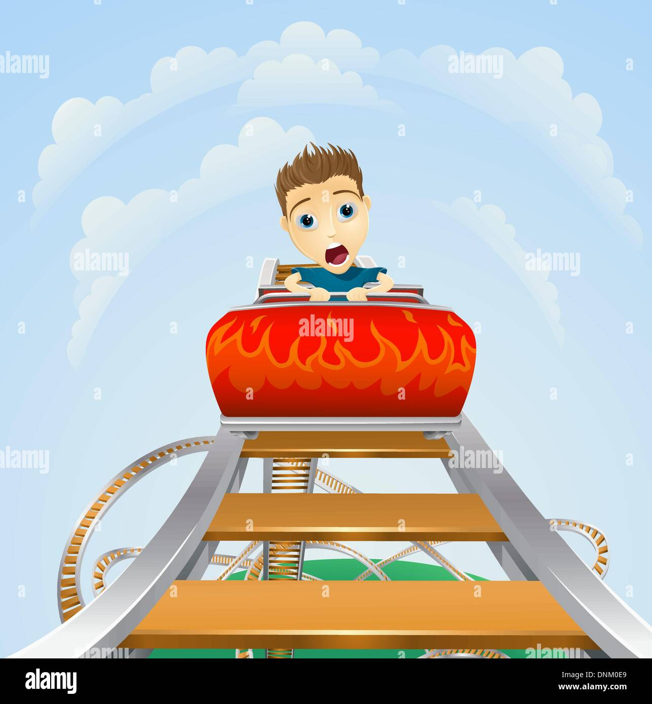 Cartoon of a young boy or man looking terrified on a roller coaster ride - Stock Vector