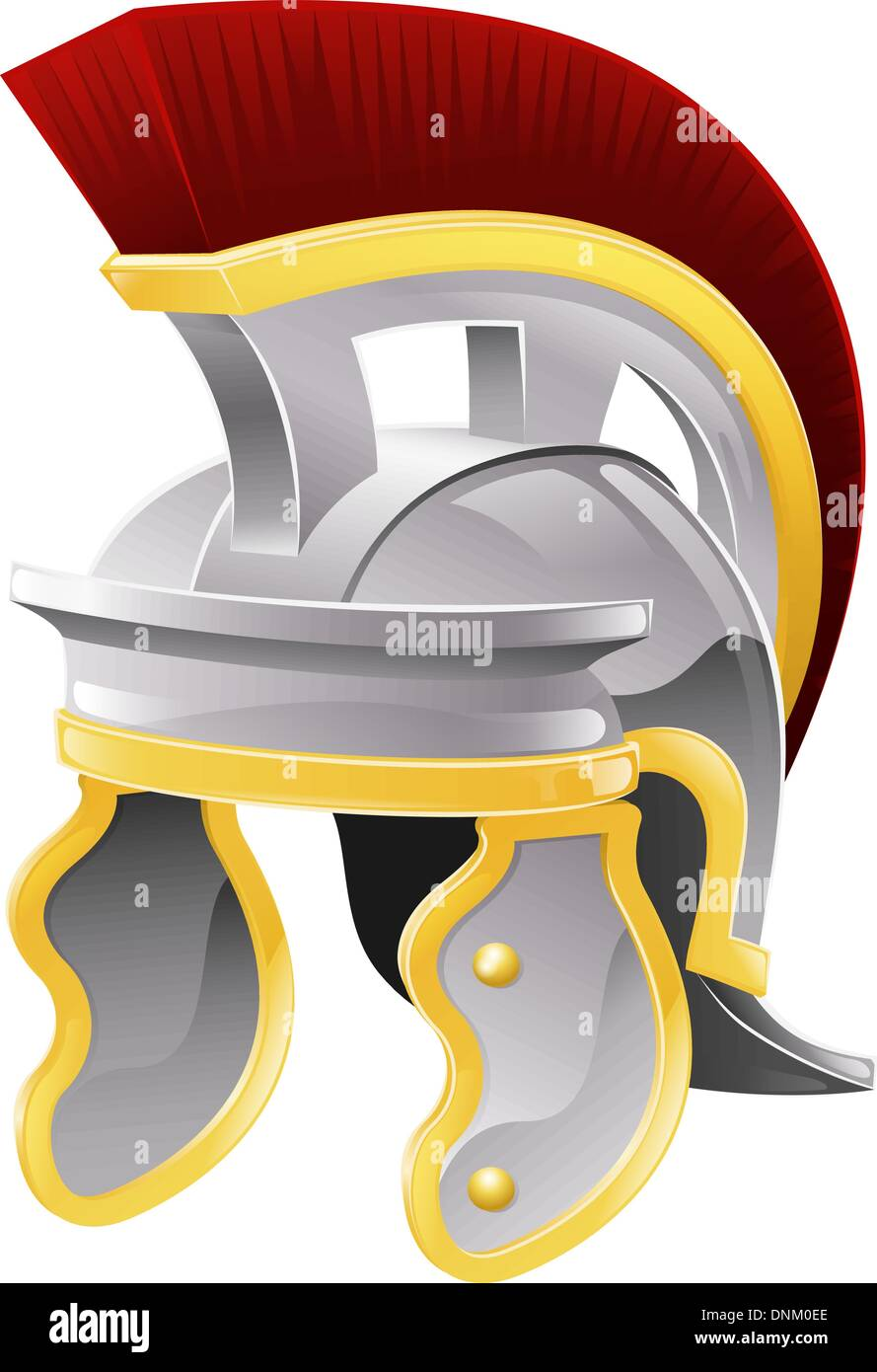 Illustration of Roman soldier's galea style helmet with red crest - Stock Vector